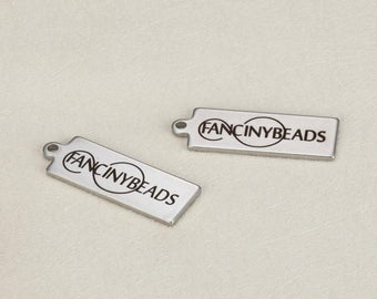Your logo or words here-50 pcs custom order Laser Engraved stainless steel rectangle charms-G0003-never fade or bauble