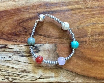 Samantha bracelet in Silver and Earth Tones