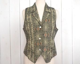 90s Tapestry Vest Vintage Tuxedo Cut Vest Button Up Sleeveless Top Black Cream Waistcoat Honors Medium M