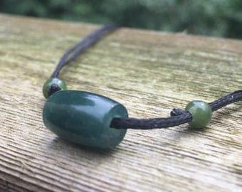 Hand Carved Blue Guatemalan Jadeite Bead Necklace