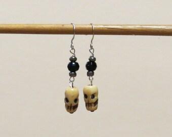 CLEARANCE! Earrings - Tibetan yak bone skull with black and grey glass beads. Sterling silver ear wires.   #EAR-030