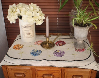 Antique Tablecloth Runner Cross Stitch Embroidery