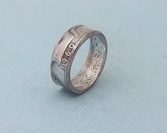 90%Silver coin ring washington quarter year 1960 size 7.5.   fine silver jewelry