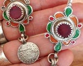 Silver Berber Earrings with Red Glass & Silver Coin from South Morocco