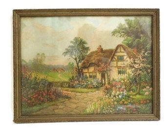 William Thompson Cottage Scene Framed Lithograph, Lithographed Print, American Artist Wm. Thompson, Thatched Cottage Print, Inscribed