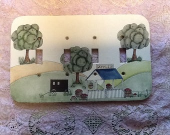 Four Panel Switch Plate Cover Hand Painted Wood Amish Farm Scene Apple Stand Beautiful Country Home Decor