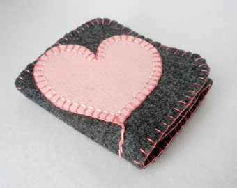 Pink Heart on a String Felt Needle Book,  Large Tri-Fold Needle Wrap Wallet,  Magnetic Closure,  Wool Felt