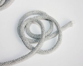 5 mm Light Gray Cotton Rope = 5 Yards = 4.57 Meters of Elegant Cotton Braided Cord - Bulky Yarn - Super Bulky Yarn - Macrame Cotton Cord