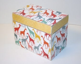 Recipe Box - Colorful Giraffe and Yellow Stripe Recipe Box, 4x6 Wooden Recipe Box, Yellow Kitchen, Colorful Recipe Box, Keepsake Box