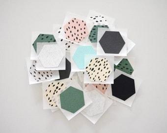 HEXACON STICKERS - green & black [ set of 10 ]