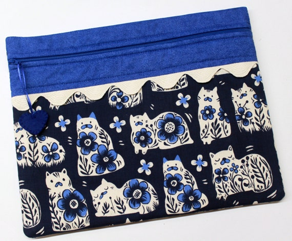Delft Blue Cats Cross Stitch Embroidery Project Bag