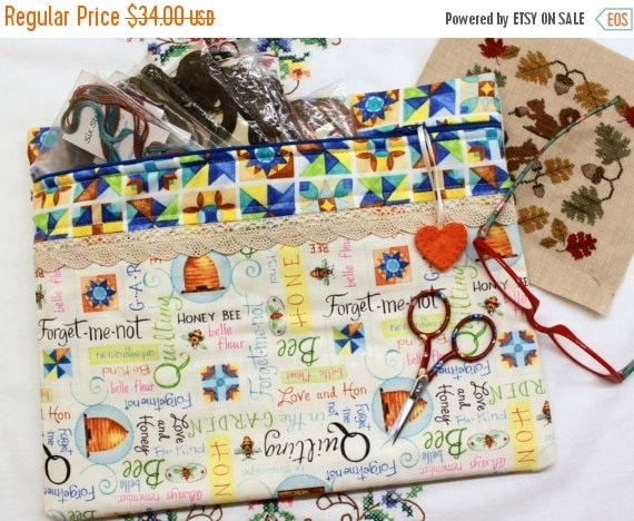 SALE Bee Skep Quilt Squares  Cross Stitch, Embroidery Project Bag