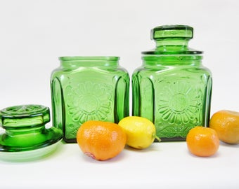 Vintage Glass Canister GREEN Sunflower by WHEATON Set of 2