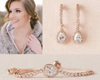 Rose Gold Bridal Bracelet, Gold Bangle Wedding Bracelet, Bridesmaid Jewelry, Bridal Jewelry, Bailey Bracelet