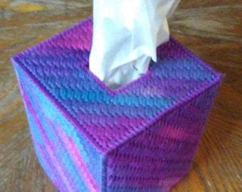 Grape Fizz Plastic Canvas Tissue Box Cover
