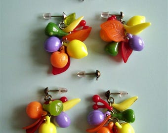 Plastic Fruit Earrings or Bracelet - Choose color.