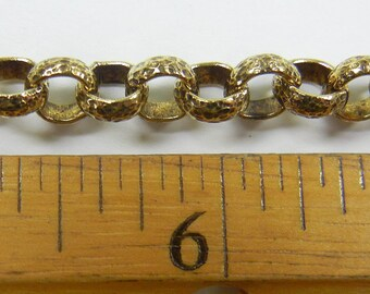 6mm hammered texture rolo chain, antique gold plate over steel ,sold per foot, (BMC-15)