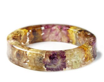 Jewelry with Real Flowers- Dried Flowers- Yellow Bracelet- Orange Dried Flowers- Red Bracelet -Flower Resin Jewelry