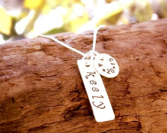 Necklace with Kids Name and Birthdate Sterling Silver Hand Stamped Tag