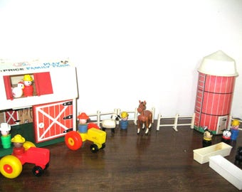 Vintage Fisher Price Barn with Silo and Accessories/Fisher Price Farmers/Ranchers/Dogs/Pigs/Horse/Sheep/Fisher Price Playset