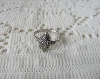 Art Deco Sterling Marcasite Ring Size 7.5