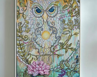 Visonary Owl on Canvas, in Lotus Flower Canvas Professional Print