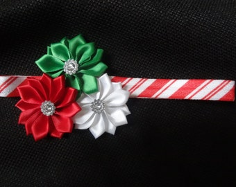 Red, Green, and White Christmas triple flower headband