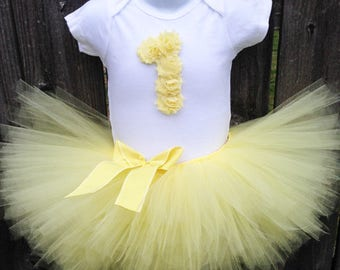 Yellow Tutu Set and Matching Headband for First Birthday | Soft Yellow Birthday Outfit |  1st or 2nd Birthday | Other Colors Available