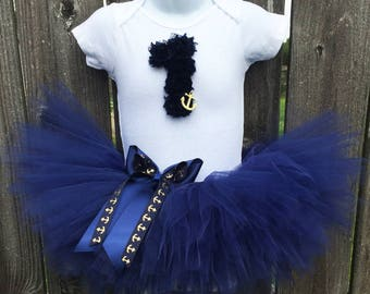 Nautical Birthday Tutu Outfit | Navy and Gold Tutu Set with Headband | Anchor Birthday Outfit | First Birthday, Second Birthday