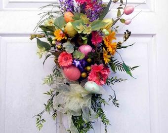 Easter Wreath , Spring Door Wreath - Summer Wreath - Spring Wreath - Front Door Wreath - Outdoor Wreath - Swag - Easter Egg