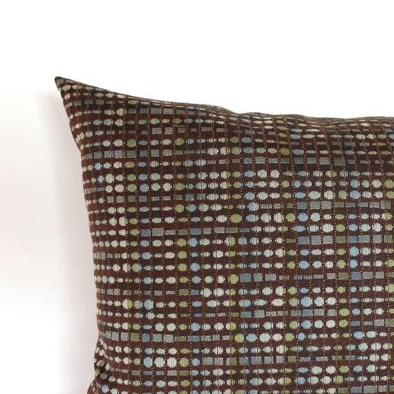 Lumbar Pillow Cover Brown Throw Pillow Cover Blue Green