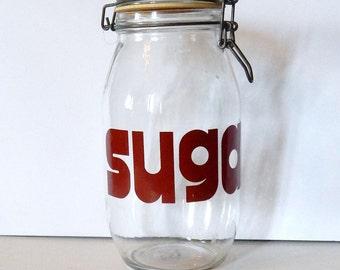 Glass Sugar Canister, 2 Liter Typography Sugar Jar Hermetic Seal Jar, Metal Wire Bale Flip Top Canning Jar, Retro Kitchen Storage Mason Jar
