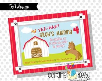 5x7 Printable Farm Barn Horse Birthday Party Invitation - Digital File