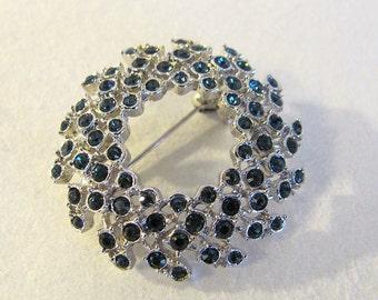Lovely Vintage Silver Tone Circle Pin w/ Blue Rhinestones