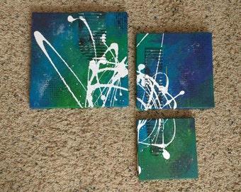 Oceanic - mixed media painting set