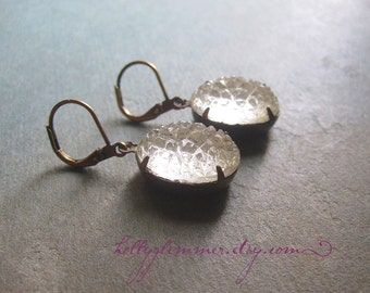Sugar Jewel Earrings / Frosted Glamour / White Winter Wedding
