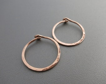"""Small Rose Gold Hammered Hoop Earrings 5/8""""D"""