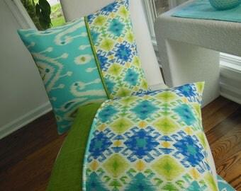 Outdoor Pillow - Ikat Pillow - Screened Porch Pillow - Turquoise Pillow - Aqua Pillow - Aztec Pillow - Kiwi Green Pillow - Patio Pillow