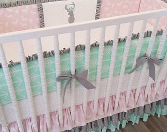MADE TO ORDER--Crib Bedding- Girl Baby Bedding- Deer Nursery Bedding- Gray Pink Mint