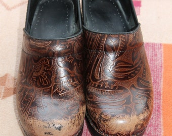 Vtg. Tooled Leather Dansko Womens Shoes size 37 US 6.5