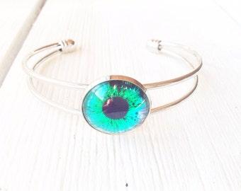 Bracelet, silver plated bangle, glass cabochon eyeball jewelry, spooky halloween eyeball bracelet, birthday gift for teen daughter,