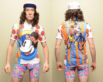 vintage Giordana Mickey Mouse cycling jersey shirt half zip biking shirt allover print Disney biking cyclist S/M
