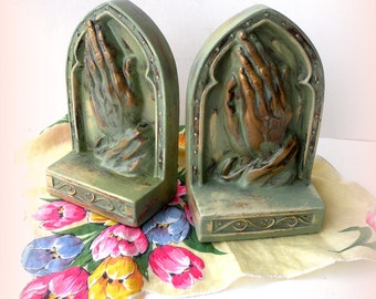Book Ends Vintage Praying Hands Repurposed Distressed Shabby Chic Cottage Style Mint Green Hand Painted Childrens Bedroom Decor Simple