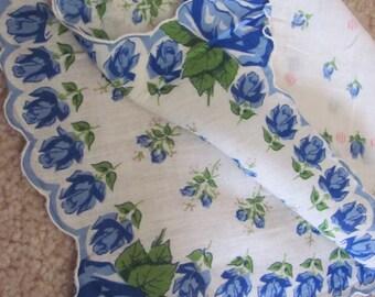 Hankie Beautiful White Blue Floral Cotton Vintage Hankie Handkerchief