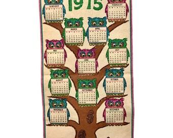 Vintage 1970s OWL Fabric Calendar Banner 1975 sequins, blue pink green
