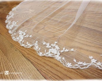 Cherry Blossom Veil Lace Custom Embroidery Cathedral Length
