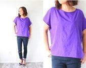 20% OFF BLACK FRIDAY Sale Vintage oversized purple blouse // bright purple boxy blouse // loose slouchy fit blouse // Boho blouse top purple