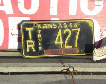 Vintage • 1968 Truck TR Kansas License Plate | No. 427 KS 68 1960s 60s 60 1960's Black White Tag Car Vehicle Automobile | Made in the USA