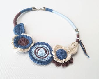 Sapphire Blue, Ivory and Chocolat Brown  Floral necklace for her,  crochet cornflower statement necklace, vintage retro choker wife gift