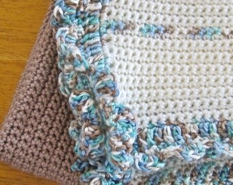 Crochet Blanket Brown Blue Cream Baby Lap Afghan